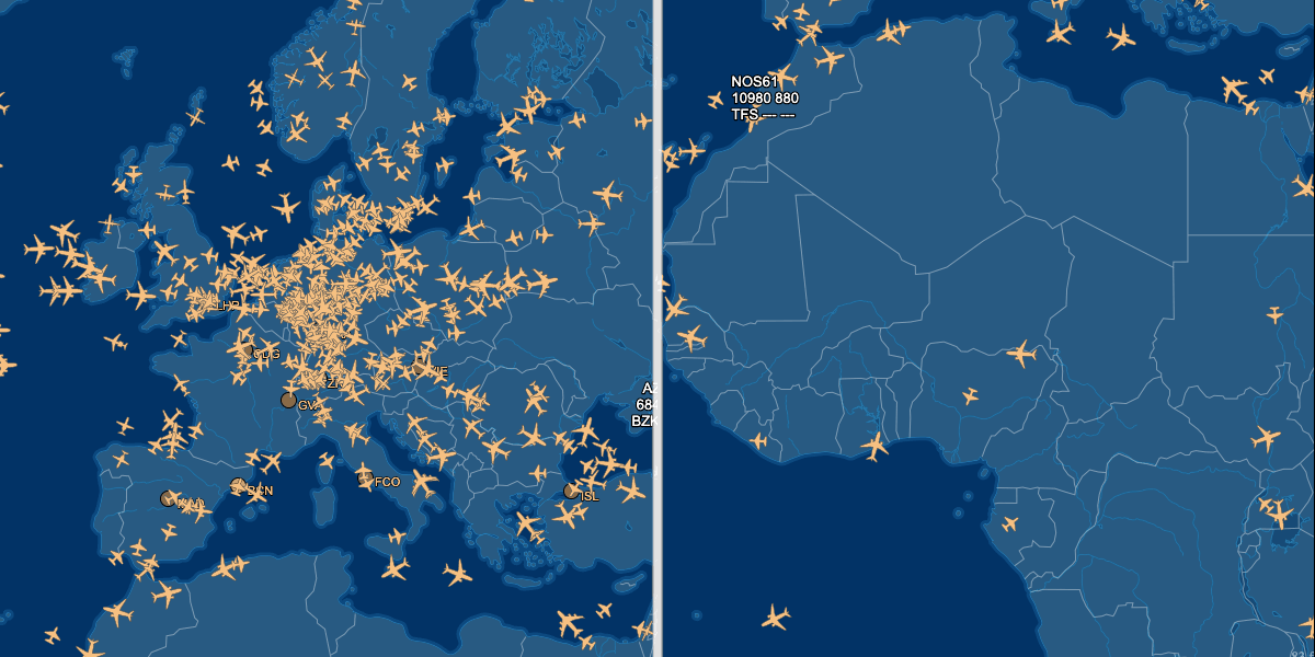 A comparison of air traffic with the flight tracker: air traffic in Europe is significantly higher than in Africa.