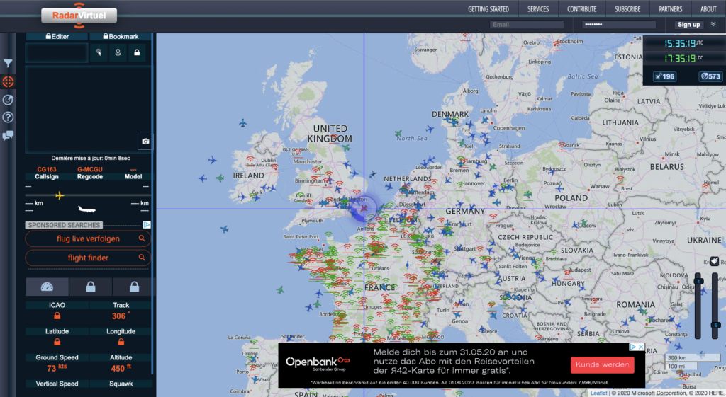 RadarVirtuel shows a map section around London, with an aircraft being actively tracked.