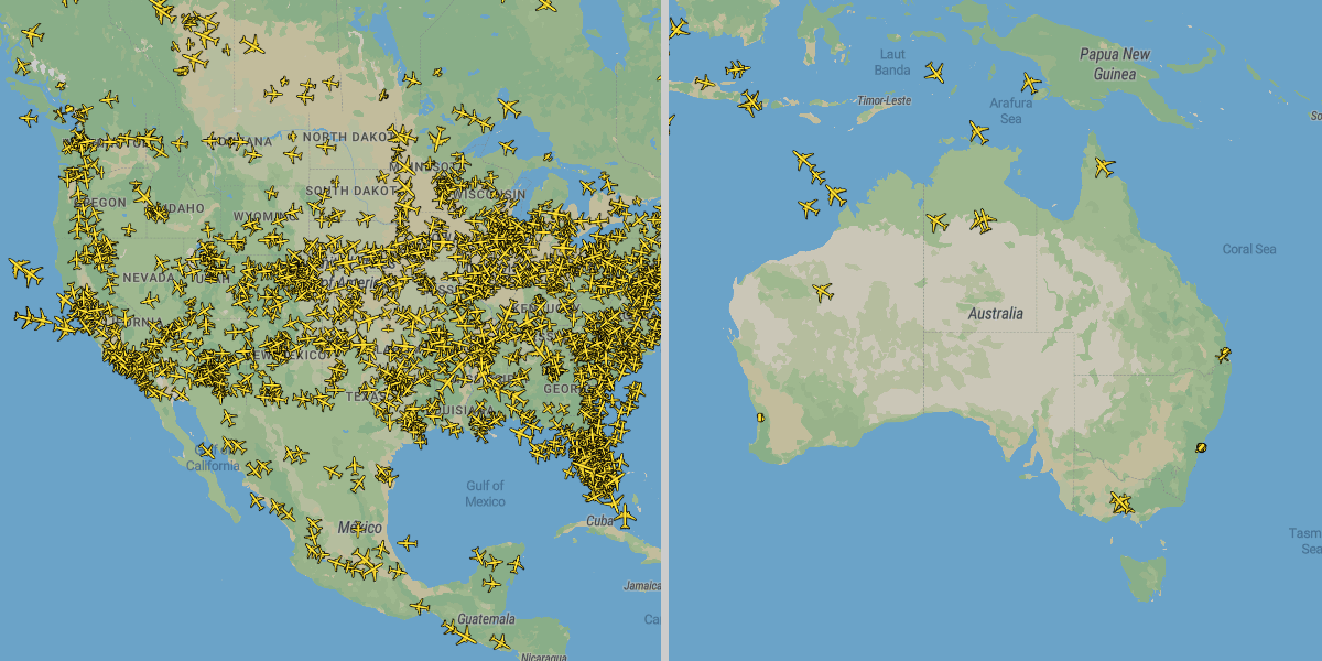 Large differences in air traffic become visible via Plane Finder: The airborne radar shows numerous flights over the USA, but only a few over Australia.