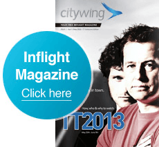 An Image of the cover of citywings inflight magazine from 2013.
